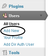 Add New Users menu option