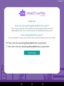 tap yes I am an existing Read&Write customer, then tap next step
