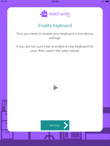 tap next step to enable the keyboard