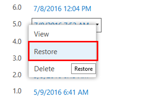 screen shot of selecting Restore from the menu