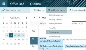 Screen shot Add calendar from Internet menu option