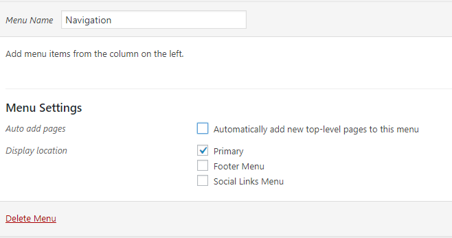 Setting the primary menu option