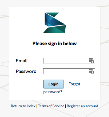 Screenshot of Scalar login page
